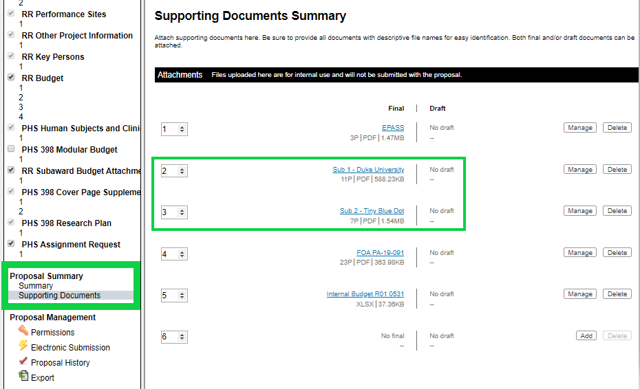 Supporting Documents Summary